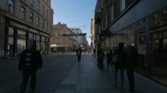 People walking by Galileo store on Ilica Street in  Zagreb, Croatia - stock footage