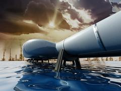 Oil pipeline passing through the sea leading to city Stock Illustration