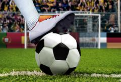 Soccer penalty kick with spectator background - stock photo