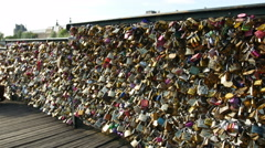 Love locks on the Pont des Arts Bridge. Stock Footage