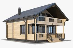 3d model of Log House 01