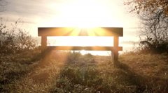 Misty Morning Lake With Park Bench. - stock footage