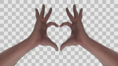 Heart Gesture - White Male Hands - II - Face - Motion Blur - Alpha - 30fps Stock Footage
