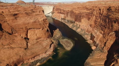 Aerial shot of Glen Canyon and dam Arkistovideo