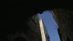 Archway on a street with old buildings in Saint-Paul-de-Vence Stock Footage