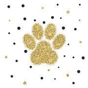 Vectro modern golden glitter animal paw - stock illustration