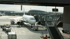Dock terminal gate waiting for travel  commuters to enter in Paris airport. Stock Footage