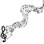 Vector modern black music background design - stock illustration