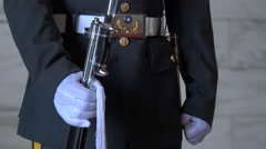 Taiwanese soldier holds rifle with bayonet, ceremony CKS memorial Taipei Stock Footage