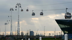 The Emirates Airline.  Cable car across the Thames Stock Footage