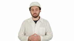 Engineer or architect showing like gesture on white background Stock Footage
