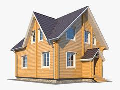 3d model of Log House 06