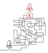 Man going to the leadership in a maze Stock Illustration