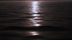 Moonlit Lake Water During Full Moon. Filmed In Slow Motion Stock Footage