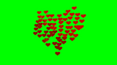 Many animated red small hearts expand and contract Stock Footage