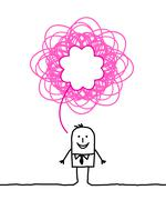 Happy man with doodle pink sign Stock Illustration