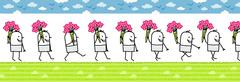 Walking man with bunch of flowers Stock Illustration