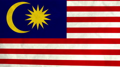Malaysian flag waving in the wind (full frame footage) Stock Footage