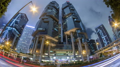 The Hong Kong Corporate Buildings night timelapse hyperlapse Stock Footage