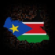South Sudan map flag on hex code illustration Stock Illustration