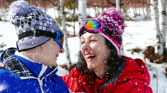Happiness and laughter while snowing - stock footage
