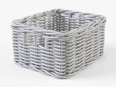 Wicker Basket Ikea Byholma 1 White - 3D model