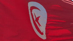 Waving Red Flag Of Tunisia - stock footage