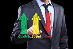 Business man writing industrial product concept of increased quality - speed and Stock Photos