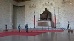 Changing of the guard ceremony at the CKS memorial hall in Taipei, Taiwan Stock Footage