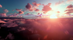 Cesna airplane above clouds at sunset Stock Footage