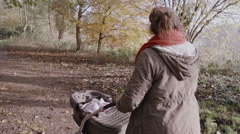 Mummy Pushing A Buggy Stroller With Her New Born Baby - stock footage