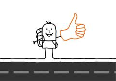 cartoon Hitchhiker on the road - stock illustration