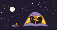 couple in a camping tent by night - stock illustration