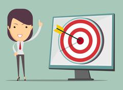 Business woman showing right on target Stock Illustration