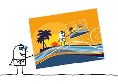 cartoon man with summer vacations postcard - stock illustration