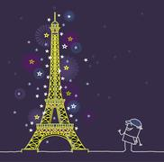 cartoon man and Paris by night - stock illustration
