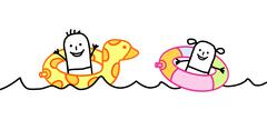 cartoon kids in the sea - stock illustration