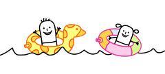 Stock Illustration of cartoon kids in the sea