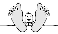 relaxing  businessman with big feet - stock illustration
