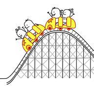 people on roller coaster - stock illustration