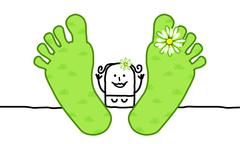 Relaxing spring woman with big feet Stock Illustration