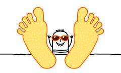 relaxing summer man with big feet - stock illustration