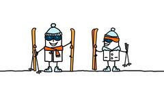 cartoon couple ready to ski - stock illustration