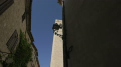 The belfry of The Collegiate Church in Saint-Paul-de-Vence Stock Footage