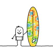 Cartoon man with patterned surfboard Stock Illustration