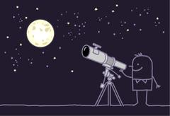 man watching the moon with telescope - stock illustration