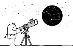man watching the stars with telescope - stock illustration