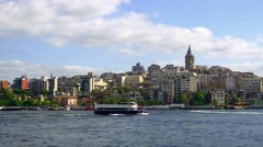 Stock Video Footage of Timelapse of Golden Horn and Galata Tower view in Springtime
