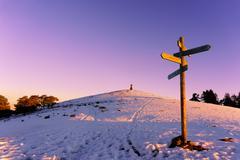 Wooden signpost in Saibi at winter Stock Photos