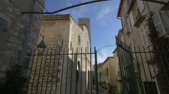 Gate near The Collegiate Church on Rue du Saint-Esprit in Saint-Paul-de-Vence Stock Footage